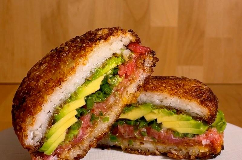 Crispy Tuna Avocado Rice Burger